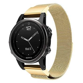 TopTen - Correa de Repuesto para Reloj Inteligente Garmin Fenix 5S, Hombre, GF-010, Dorado, 140-210MM: Amazon.es: Deportes y aire libre
