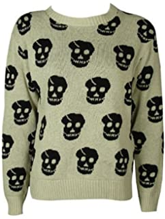 c96690bdf767b3 The Home of Fashion New Ladies Stone Skull Head Patterned Long Sleeve  Knitted Womens Jumper Size