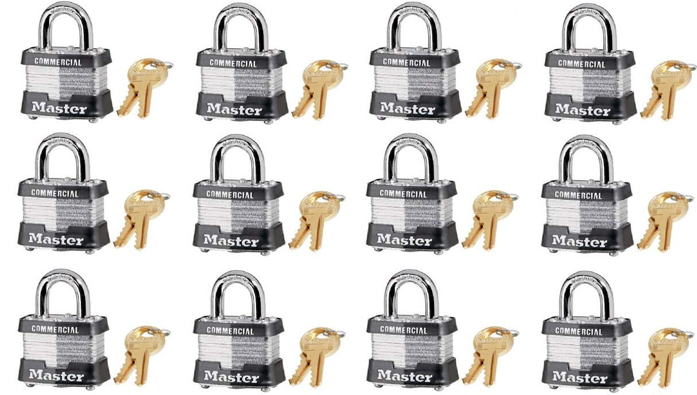 Master Lock 3KA-3210 1-1/2'' Laminated Keyed Alike Padlocks - Quantity 12 by Master Lock
