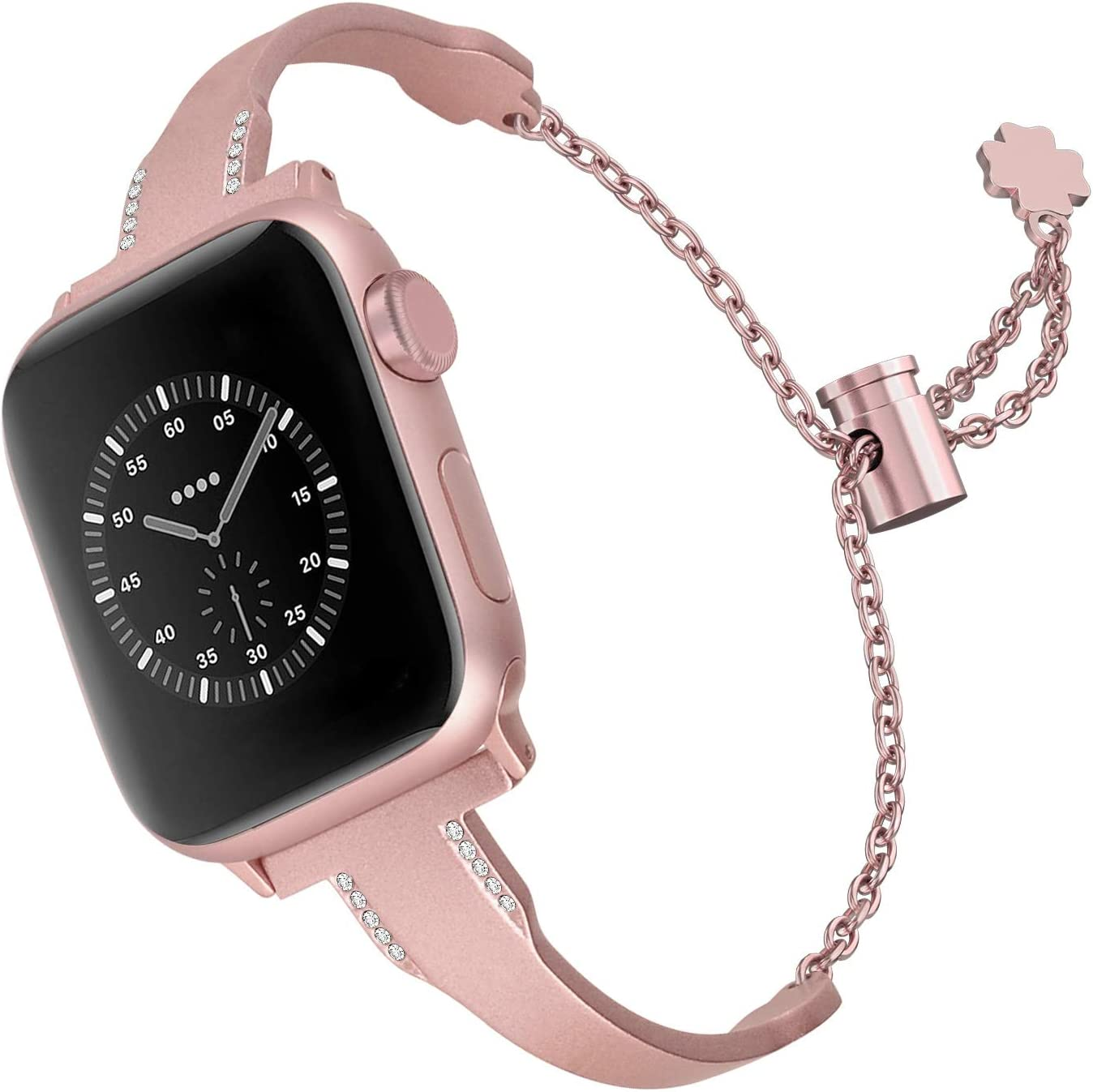 Aizilasa Metal Band Compatible for Apple Watch Band 40mm 44mm 38mm 42mm, Stainless Steel iWatch Wristband Strap Cuff Bangle Bracelet for Women Men (Rose Gold (Pink), 42mm/44mm)