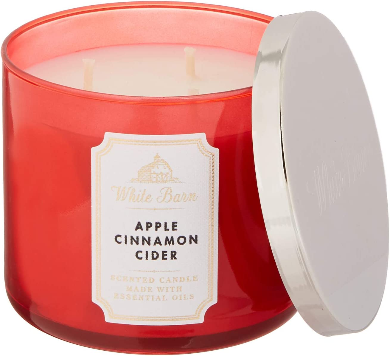 Whte Barn Bath and Body Works 3 Wick Scented Candle Apple Cinnamon Cider 14.5 Ounce