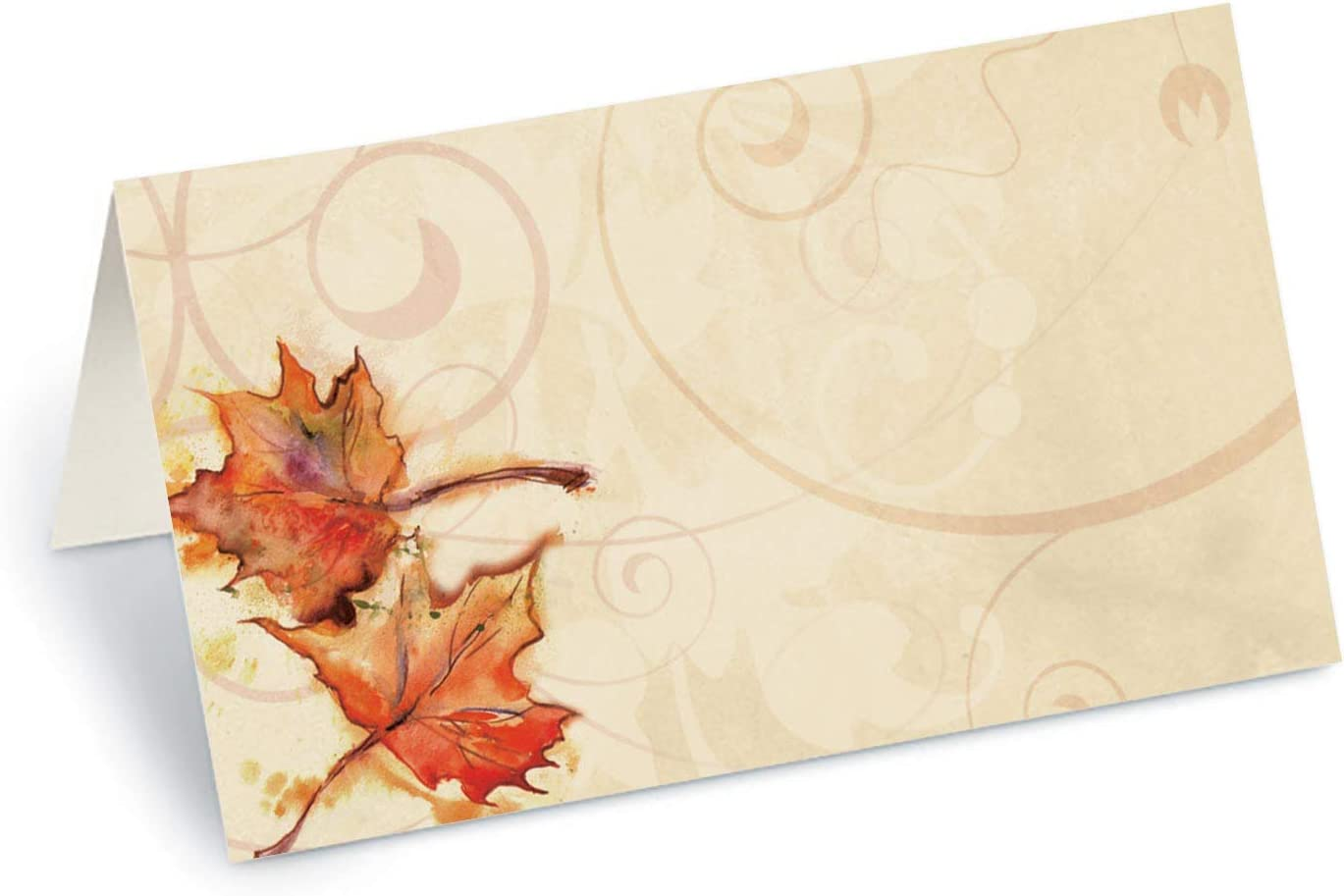 PaperDirect Vintage Fall Leaves Folded Place Cards, 100 Count