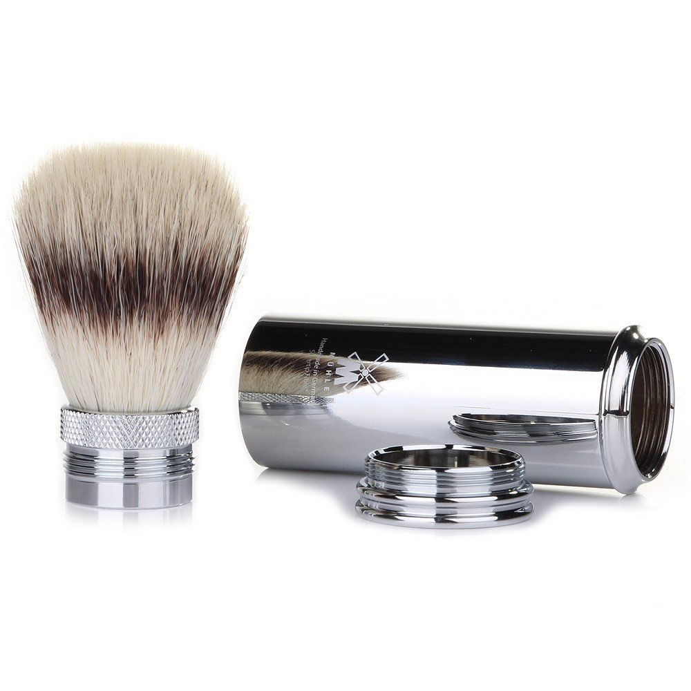 Muhle Silvertip Fibre Travel Shaving Brush - Nickel