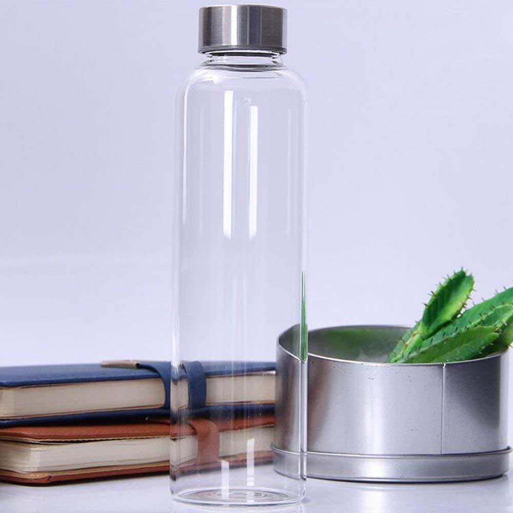 Botella de Agua de Vidrio Transparente con Funda Aislante 550ml Taza de Agua Portátil Ideal para la Oficina en Casa de la Escuela Travel Sport Yoga Gym ...