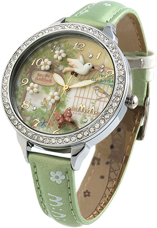 Amazon Com Handmade 3d Polymer Clay Crystals Ladies Wrist Watches For Women Girls Spring Flying Bird Green Relogio Dreaming Q P Watches