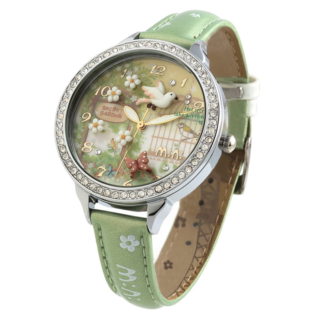 Cute Bowknot Bunny Girl's Teenagers' Wrist Watches,Butterfly Dial,Leather Strap Golden Case fq062