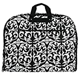 Cheap Fashionable Travel Garment Bags with Extended Hanger – Custom Embroidery Available (Black Damask – Embroidery Monogram)