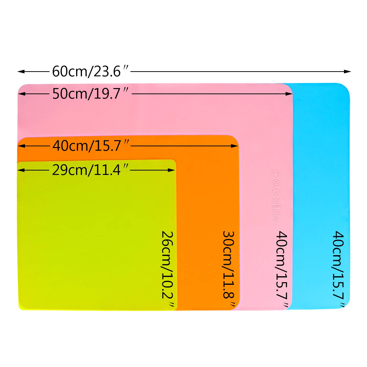 Blue /& Pink /& Green Set of 3 Waterproof Nonstick Heat-Resistant Large Silicone Mats 15.7 x 19.7 inchs Multipurpose Sheets for Crafts Jewelry Casting Moulds Countertop Protector Placemat