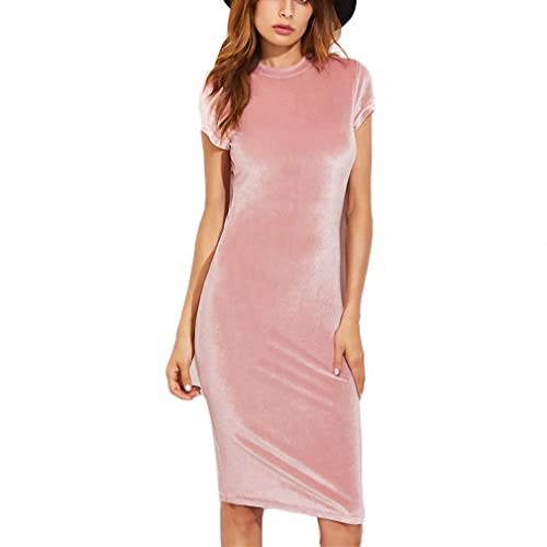 Velvet Sheath Dress Office Ladies Round Neck Slim Pencil Dress Work Wear Knee Length Dress