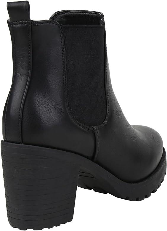 Stiefelparadies Damen Stiefeletten Chelsea Boots mit Blockabsatz Profilsohle Flandell