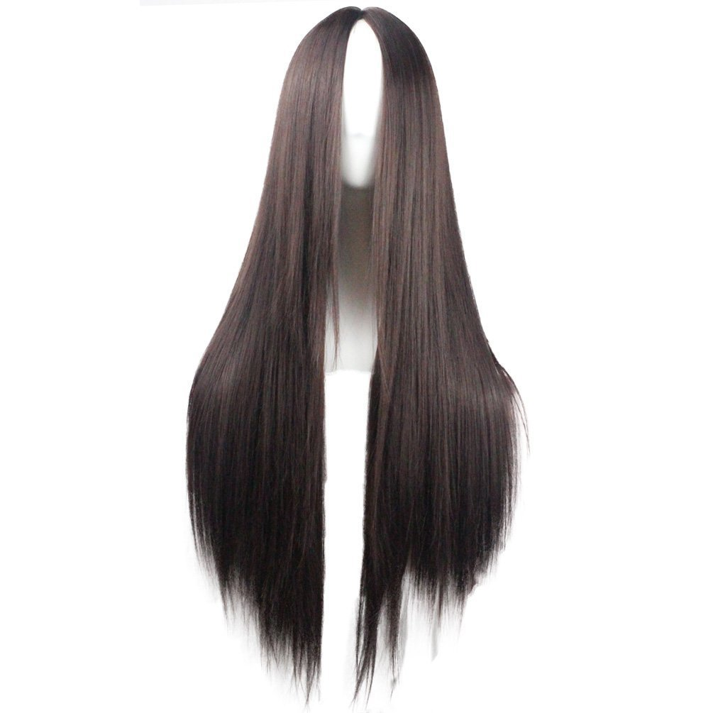 VIMIKID 30'' 75cm Long Straight Dark Brown Middle Parting Heat Resistant Synthetic Full Hair Cosplay Party Wig