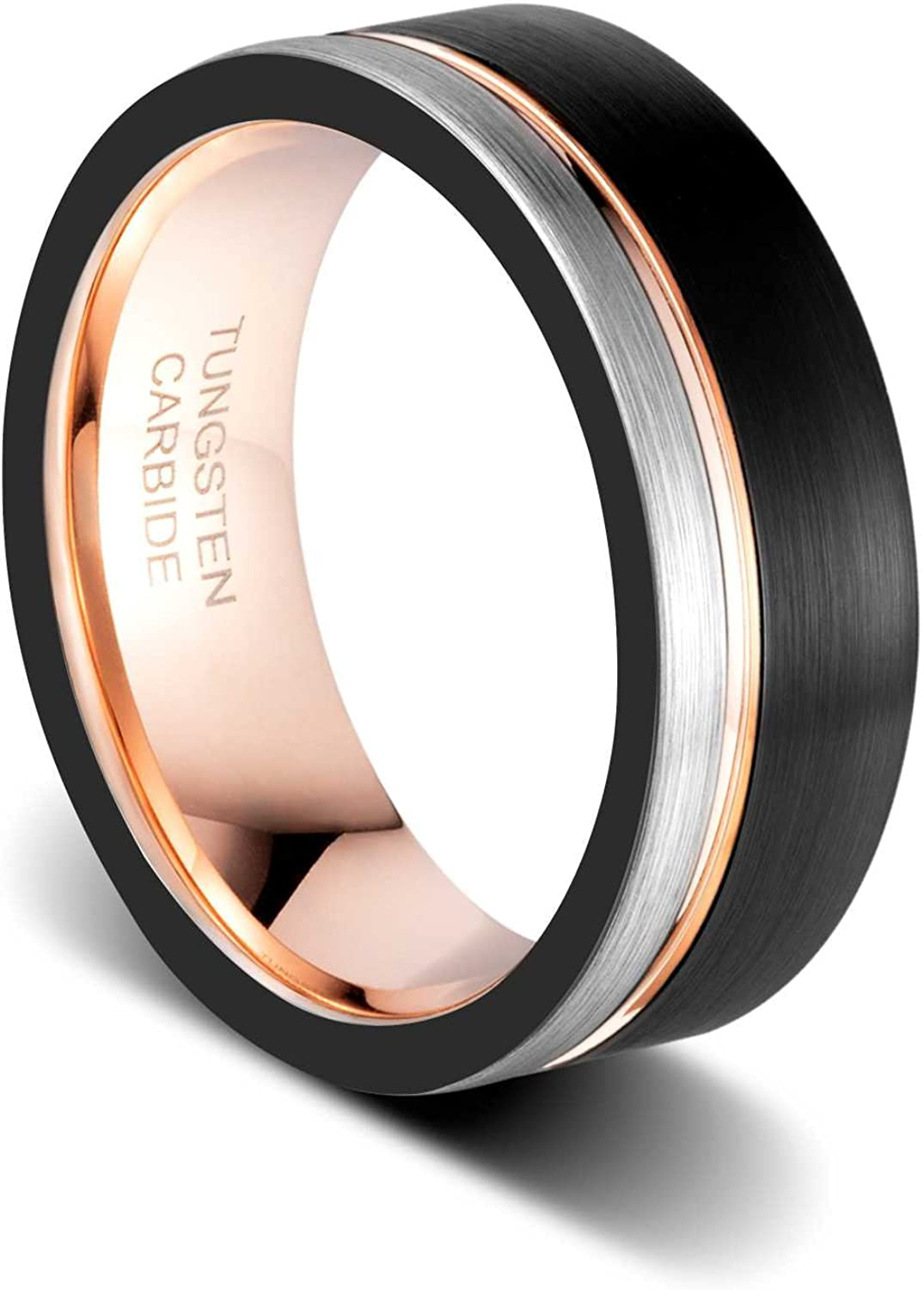 TUSEN JEWELRY Tungsten Carbide Wedding Band 8mm Rose Gold Line Ring Black and Silver Brushed Comfort Fit