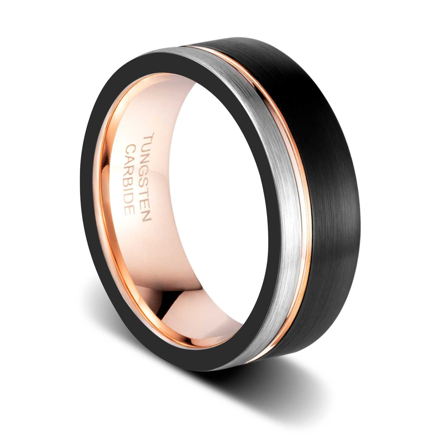TUSEN JEWELRY 8mm Black and Silver Brushed Thin Side Rose Gold Plated Groove Flat Edge Comfort Fit Tungsten ring Size:15