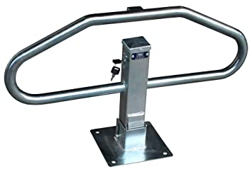 Barrera para aparcamiento abatible manual con cerradura y llave modelo BAM, barreras para parking para reservar su plaza de aparcamiento (1- Barrera): ...