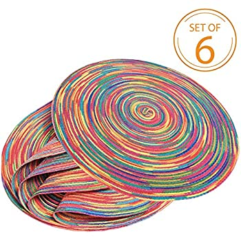 Braided Colorful Round Place mats for Kitchen Dining Table Runner Heat Insulation Non-Slip Washable Christmas Placemats Set of 6