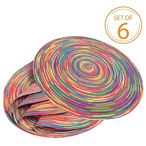 Braided Colorful Round Place mats for Kitchen Dining Table Runner Heat Insulation Non-Slip Washable Set of 6 -