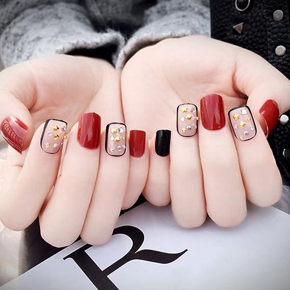 CoralStore - Juego de 24 uñas postizas cortas acrílicas negras y rojas, 24 unidades: Amazon.es: Belleza
