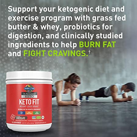 Garden of Life Dr. Formulated Keto Fit Weight Loss Shake – Chocolate Powder, 10 Servings, Truly Grass Fed Butter Whey Protein, Studied Ingredients plus Probiotics, Non-GMO, Gluten Free, Keto, Paleo