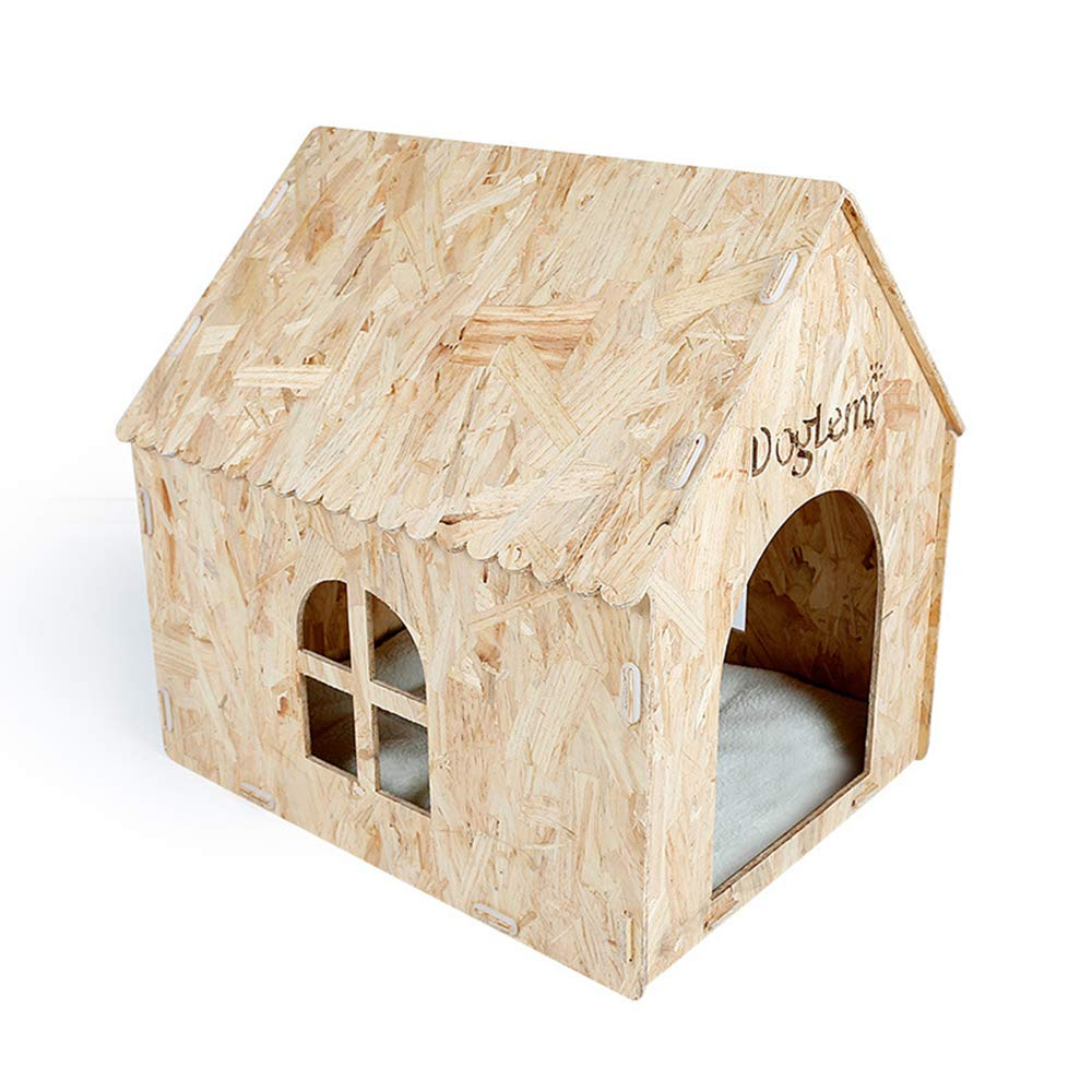 Pet Supplies Eco-friendly pine wood wooden house, suitable for dog houses of all seasons, indoor and outdoor, 57X50X58cm