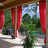 cololeaf Semi-Sheer Curtains Indoor Outdoor For Living Room | Bedroom | Library | Classroom| Hotel | Club - Nickle Grommet - Red 84'' W x 96'' L (1 Panel)