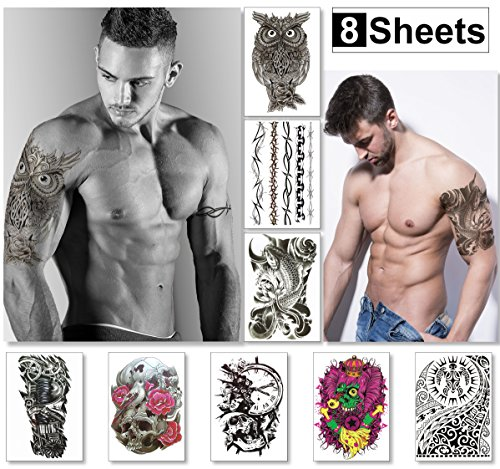 Temporary Tattoos For Men Guys Boys & Teens (8 Large Sheets) - Fake Tattoos Stickers For Arms Shoulders Chest Back Legs Tribal Koi Fish Skull Owl Clock Tattoo Realistic Waterproof Transfer Black (Best Barbed Wire Tattoo)