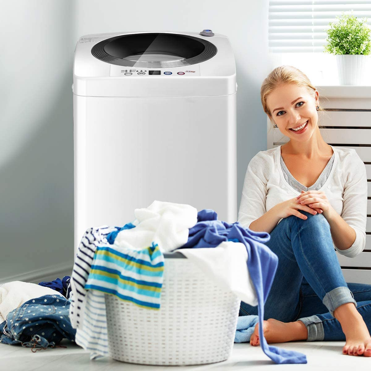 B07HKXVQYC Giantex Portable Compact Full-Automatic Laundry 8 lbs Load Capacity Washing Machine Washer/Spinner W/Drain Pump 61UPXRU26uL.SL1176_