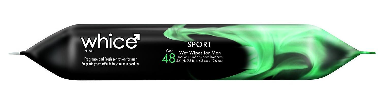 Toallitas de cuerpo para hombres por Whice - Toallitas húmedas hipoalergénicas de cuerpo completo - después de deportes o gimnasio, viajes, coche, ...