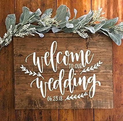 Amazon.com: Wedding Welcome To Our Wedding Wood Sign Wood Wedding ...