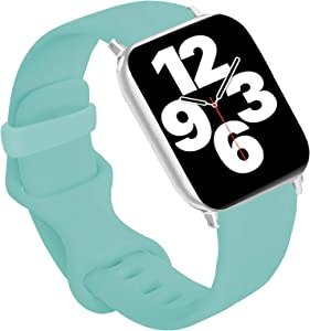 Idon Sport Watch Band, Soft Silicone Replacement Sports Bands Compatible with Watch SeriesSE/Series6/5/4/3/2/1 38MM 40MM for Watch All Models (Marine Green,38MM M/L)