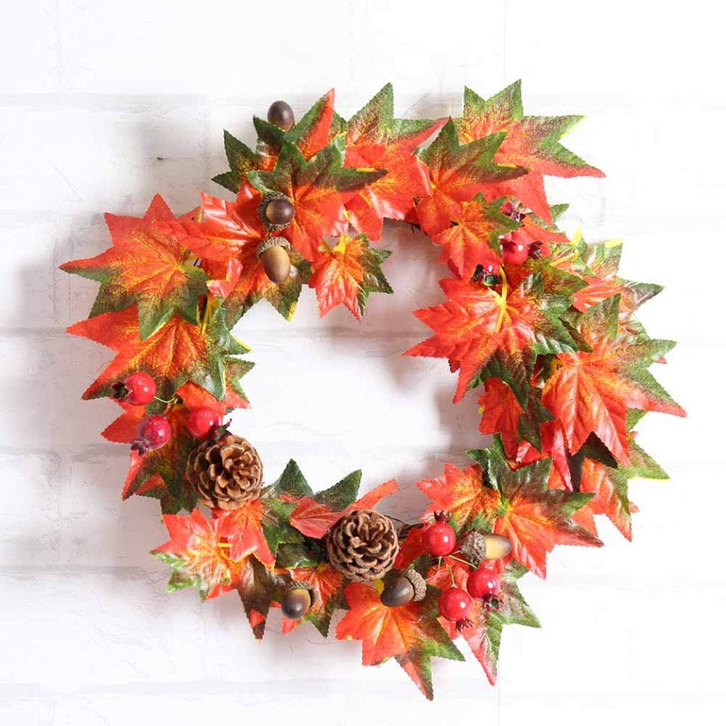 SO-buts Artificial Maple Berry Door Wreath,Wall Ornaments for Holiday Home Decor (Orange, diameter: 20cm)