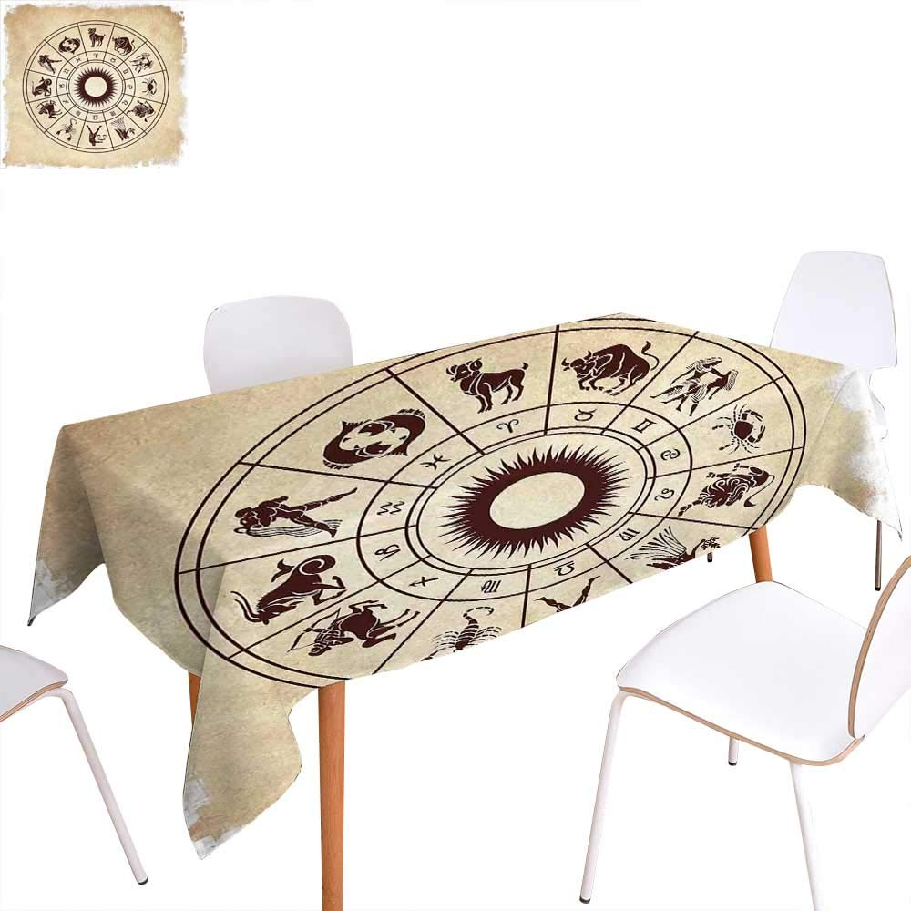 """familytaste Zodiac Dinning Tabletop Decoration Wheel of Horoscope Icons on The Distressed Backdrop Cosmos Occult Print Artwork Table Cover for Kitchen 50""""x80"""" Brown Beige"""