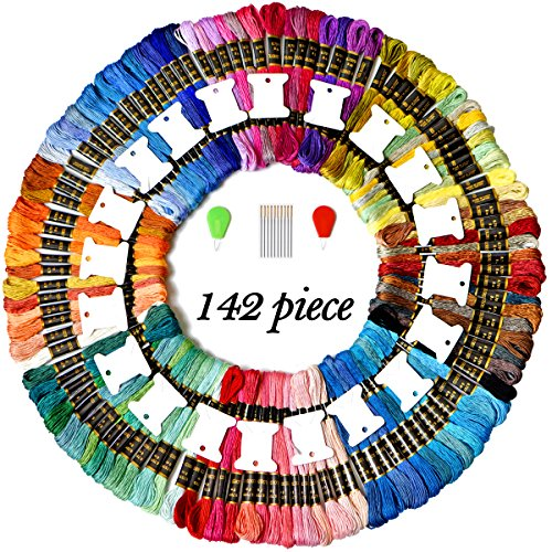 Colored Bird 110 Skeins Embroidery Thread Floss Friendship Bracelet Strings with Free Set of 20 pcs Organizer Floss Bobbins 10pcs Embroidery Needles&2pcs Colorful Plastic Wire Loop Needle Threaders (Bird Colored)