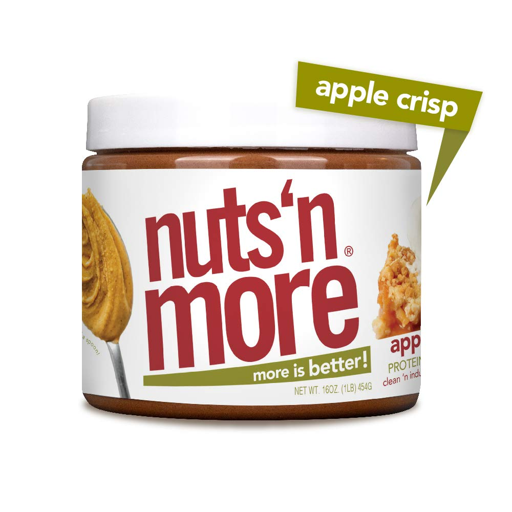 Nuts 'N More Apple Crisp Peanut Butter Spread, All Natural High Protein Nut Butter Healthy Snack, Omega 3's and Antioxidants, Low Carb, Low Sugar, Gluten-Free, Non-GMO, Preservative Free, 16 oz Jar