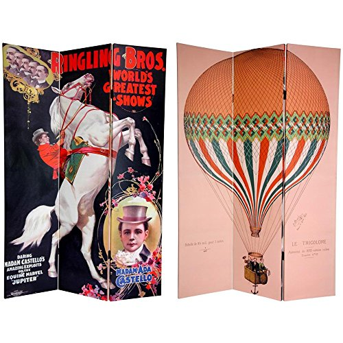 Oriental Furniture 6 ft. Tall Double Sided Circus Room Divider - Circus Art Printed Canvas