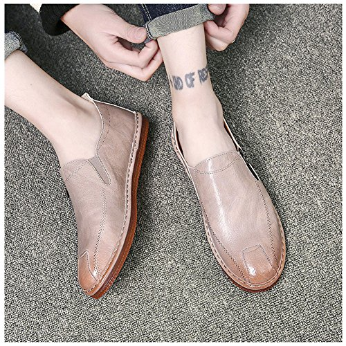 Del Semi Lavoro Di Affari Scarpe Scarpe formale Di Appartamenti Su Senlu Uomini Casuale Classico Slittamento Beige Toe Vestito Degli Sottolineato Cuoio wqUZ4x6