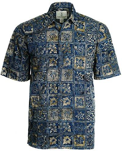 (Artisan Outfitters Mens Catalina Island Batik Cotton Shirt (3XLT, Shoreline Blue))