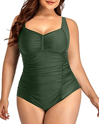 Daci Plus Size One Piece Swimsuits for Women Tummy Control Ruffle Swimwear