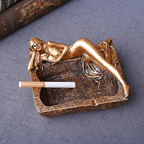 (dezirZJjx Ashtray, Sexy Long Legs Beauty Resin Ashtray, Cigarette Ashtray Holder - Modern Christmas Holiday Home Decor Tabletop Ash Tray for Smokers - Nice Gift for Men and Women Golden)