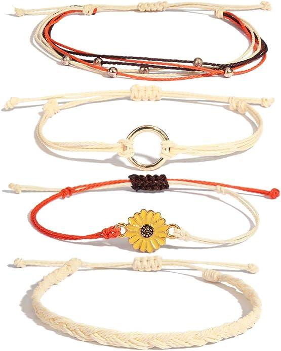 Hand-Painted Sunflower Charm Bracelet