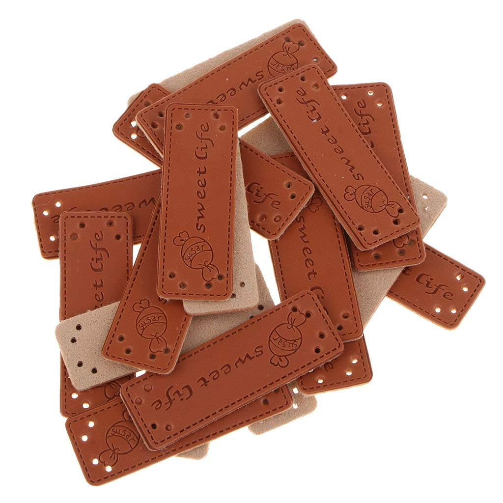 20x PU Leather Label Handmade Embossed Tag Embellishment Knit DIY Clothing Accessories 02