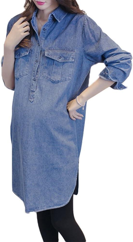 Maternity Long Sleeve Long Denim Dress Moda Camisa de Mezclilla ...