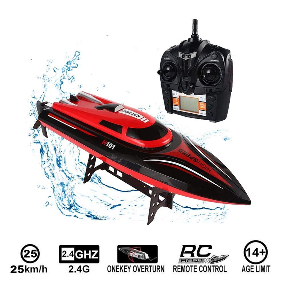 Tawcal Fast RC Boat, Remote Control Boats Electric Watercraft for Adult and Kids High Speed Racing Boat with LCD Screen 180 Degree Flip Water Toy for Pool Lake and Outdoor by Tawcal