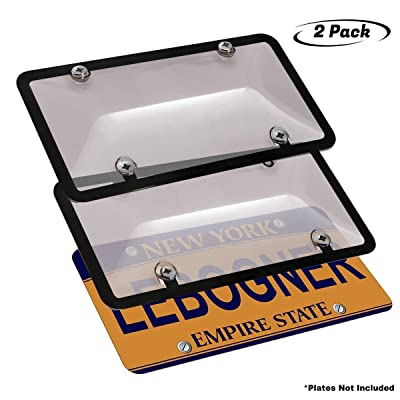 lebogner Car License Plates Shields and Frames Combo, 2 Pack Tinted Bubble Design Novelty Plate Covers to Fit Any Standard US Plates, Unbreakable Frame & Covers to Protect Plates, Screws Included: Automotive
