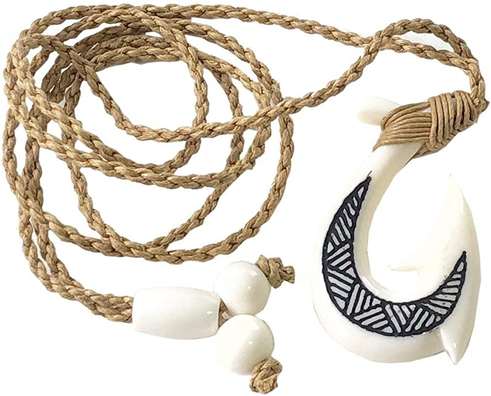 Hawaiian Jewelry Hand Carved Tattoo Fish Hook White Buffalo Bone Hawaii Necklace