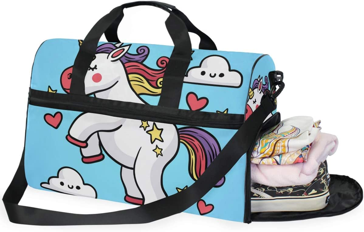 Lightweight Water Resistant Tear Resistant FANTAZIO White Unicorn Sports Bag Packable Travel Duffle Bag