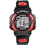 Multifunction Man Digital LED Quartz Watch Ninasill Sport Watch LED Alarm Waterproof Watch(Red)