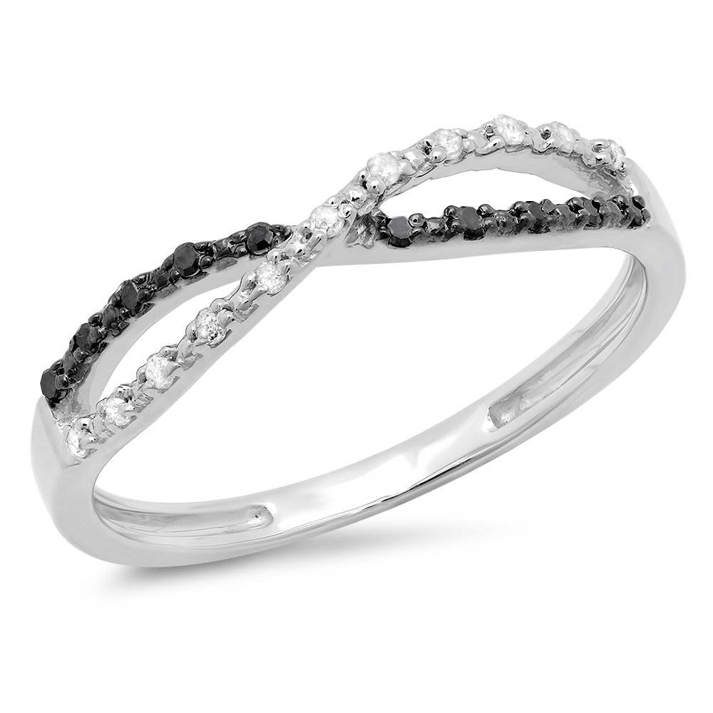 0.10 Carat (ctw) Sterling Silver Round White and Black Diamond Ladies Infinity Swirl Wedding Anniversary Band Ring 1/10 CT (Size 6.5)