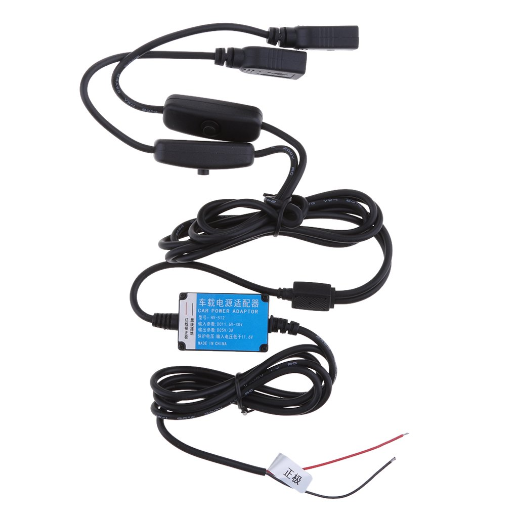 H HILABEE 12V/24V To 5V3A Car Power Adaptor Cable Dual USB Port With Switch 3.5 Meters