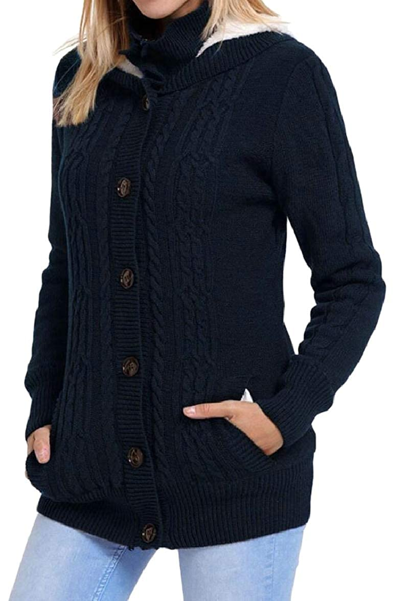 Dark bluee ouxiuli Women Winter Knit Hoodies Outerwear Single Breasted Cardigan Sweaters Jackets