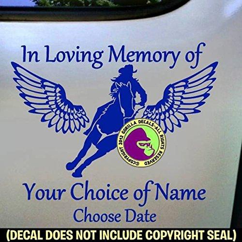 Amazoncom MEMORIAL Barrel Racing Wings ADD CUSTOM WORDS Vinyl - Custom barrel stickers